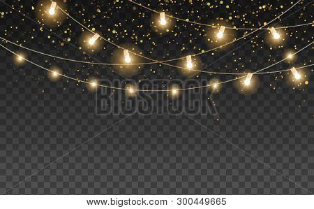 Magic Night Lights Vector Design Element. Party Hanging Lamp Garlands. Gold Stars And Glow. Golden S