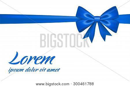 Ribbon Bow Gift, Isolated White Background. Satin Blue Design Festive Frame. Decorative Christmas, V