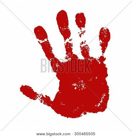 Hand Paint Print, Isolated White Background. Red Human Palm And Fingers. Abstract Art Design, Symbol