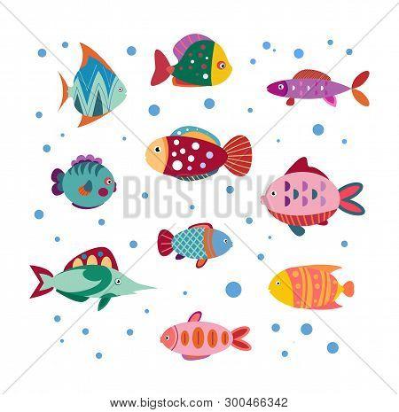 Isolated Cute Sea Fish. Set Of Freshwater Aquarium Cartoon Fishes. Varieties Of Ornamental Color Fis