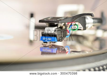 London, England - May 08, 2019: Audiophile Cartridge Shure 97 Mounted In Technics Shell With Reflect