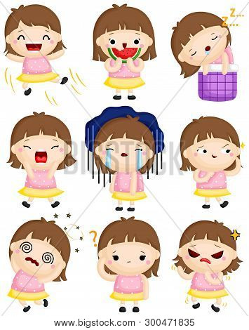 A Vector Set Of Cute Little Girl Expressing Many Emotions With Her Faces