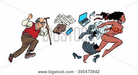 Discrimination Against African Women. The Old Man Is Chasing A Beautiful Girl. Archaic And Emancipat