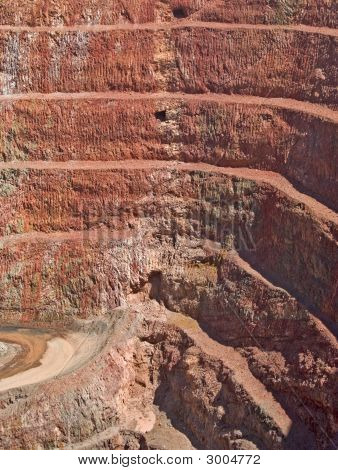 Deep Mine Hole In Rock Strata