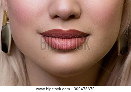 Sexual Full Lips. Natural Gloss Of Lips And Woman's Skin. The Mouth Is Closed. Increase In Lips, Cos