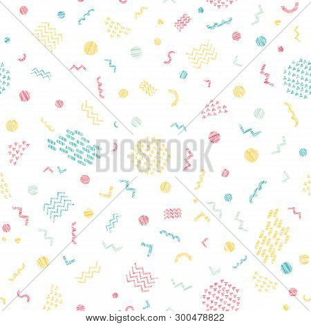 Colorful Scratchy Seamless Pattern. Party Background. Abstract Texture. Bright Delicate Colors. Shap