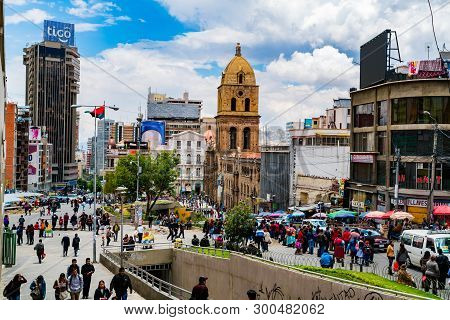 La Paz, Bolivia - February 4, 2016 : Unidentified People Walking In The Street At The San Francisco