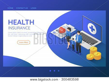 3d Isometric Web Banner Family Standing With Stethoscope On Health Insurance Document And Laptop. He