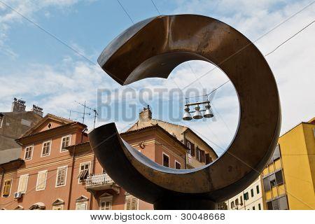 Bronze Monument On Central Square Of Rijeka In Croatia