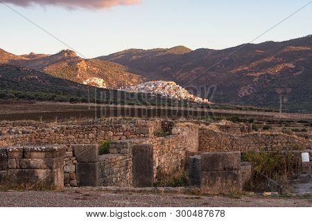 Ruins of the roman basilica of Volubilis, a UNESCO world heritage site near Meknes and Fez, Morocco poster