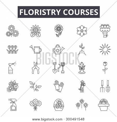 Floristry Education Line Icons, Signs, Vector Set, Linear Concept, Outline Illustration