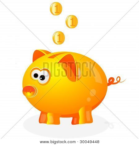 Piggy bank with coins background