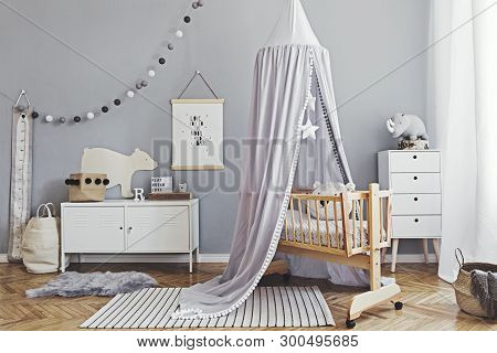 Stylish Scandinavian Nursery Interior With Hanging Mock Up Poster, Natural Toys, Teddy Bears, Childr