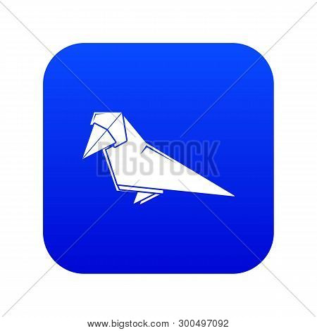 Origami Bird Icon Blue Vector Isolated On White Background