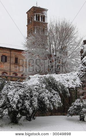 Saint Cosma and Damiano Basilica under snow