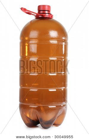 Color photo of plastic bottles of beer