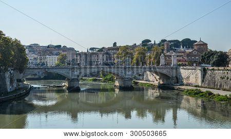 Aelian Bridge Or Pons Aelius In Rome, Italy