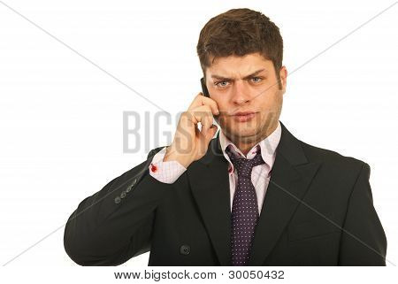 Nervous Business Man By Phone Mobile