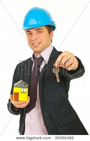 Happy Architect Giving Keys