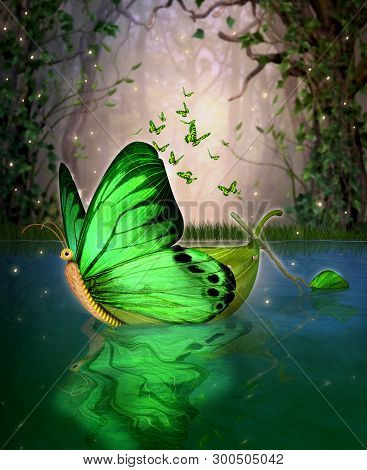 A Magical Fairy Wildwood Water Craft Boat In A Butterfly Shape,  Floating Through A Hidden Lake, 3d