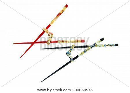 Isolated Elegant And Ornamental Chinese Chopsticks
