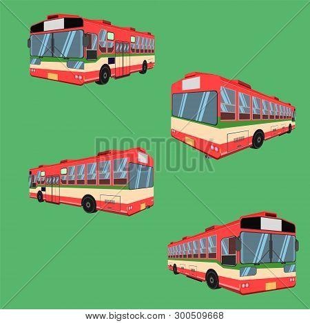 3d Thai Bus Red Green White Transport Car Vehicle Driver Fare Passenger Autobus Omnibus Coach Rail B