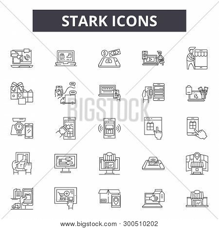 Stark Line Icons, Signs, Vector Set, Linear Concept, Outline Illustration