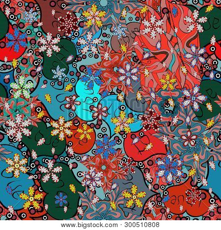 Seamless Flat Design With Abstract Doodles On Blue, Red And Black Colors Background. Vector Illustra