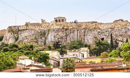 Acropolis Of Athens Behind Plaka District, Greece. It Is A Top Landmark Of Old Athens. Panorama Of T