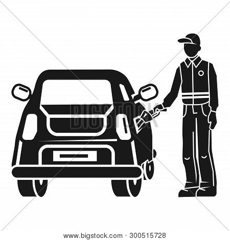 Man Fill Up The Car Icon. Simple Illustration Of Man Fill Up The Car Vector Icon For Web Design Isol