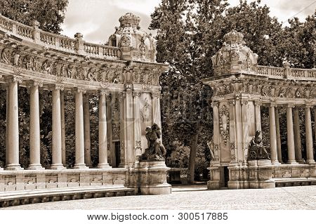 Columns In Park Retiro Of Madrid, Spain