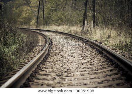 Railroad In Autumn Mystical Weather