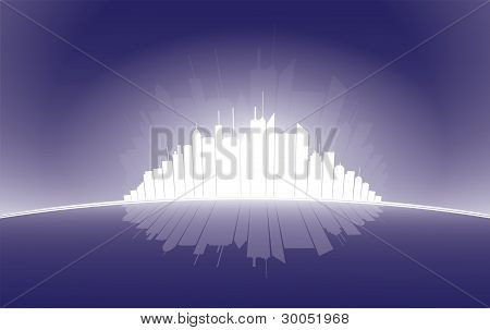 City High Rise Silhouette Illustration Glowing In White