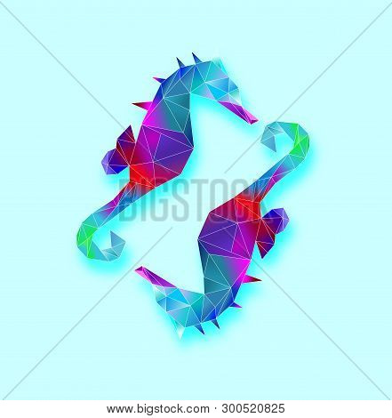 Seahorse In Geometric Pattern,seahorse With Low Poly Style.