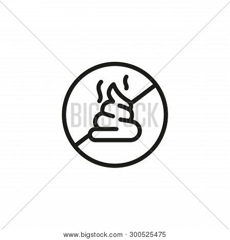 Clean Up After Your Pet Sign Line Icon. No Shit, Pet Care, Prohibition Sign. Pet Concept. Vector Ill