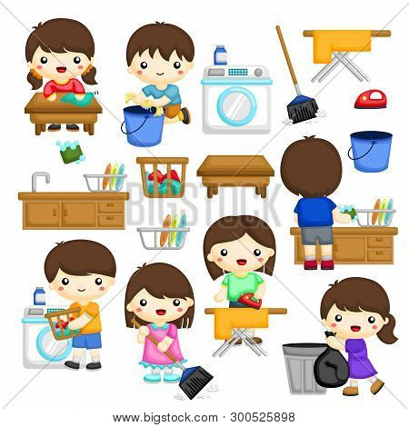 Young Boys And Girls Doing Some Of The House Chores