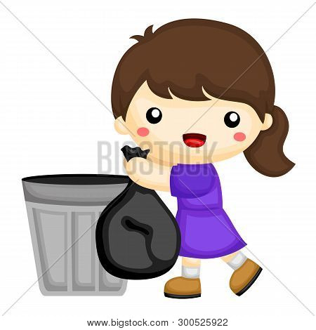 Little Girl Is Throwing Out The Garbage