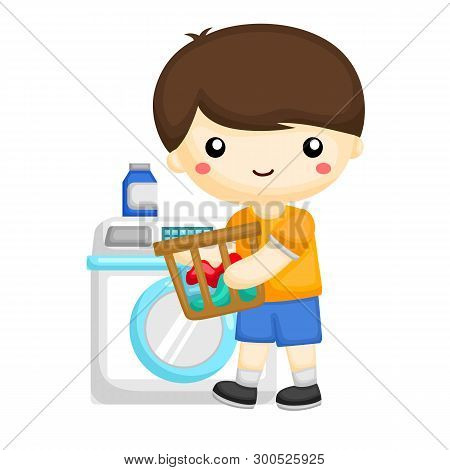 Little Boy Washing Some Dirty Clothes At Home