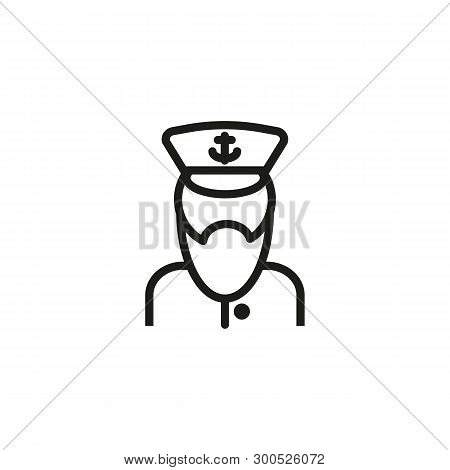 Sea Captain Line Icon. Seaman, Sailor, Skipper. Marine Port Concept. Vector Illustration Can Be Used