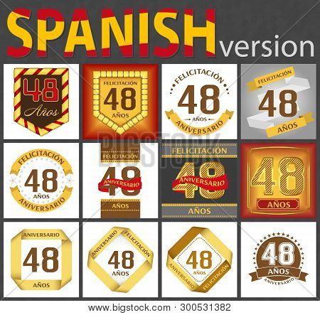 Spanish Set Of Number Forty-eight Years (48 Years) Celebration Design. Anniversary Number Template E