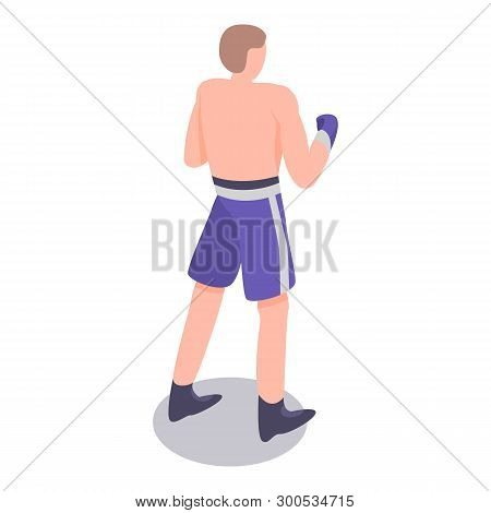 European Boxing Man Icon. Isometric Of European Boxing Man Vector Icon For Web Design Isolated On Wh