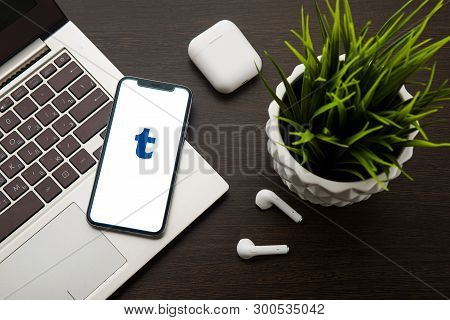 Tula, Russia, May 1, 2019: Tumblr Logo On The Iphone X Screen Is Placed On The Laptop Keyboard Next