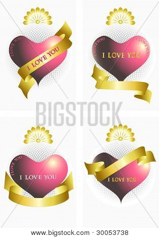 Variants of the heart and ribbons.Ilove you. Poster.