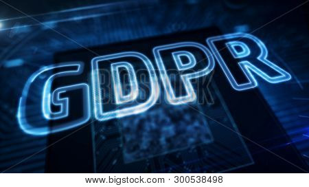 Gdpr General Data Protection Regulation Act With Face Icon On Digital Background. Privacy Safety In