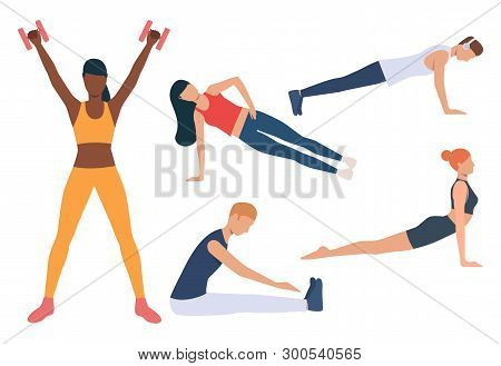 Set Of Morning Exercises. Men And Women Doing Yoga, Planks, Pushups, Stretching Muscles, Working Wit
