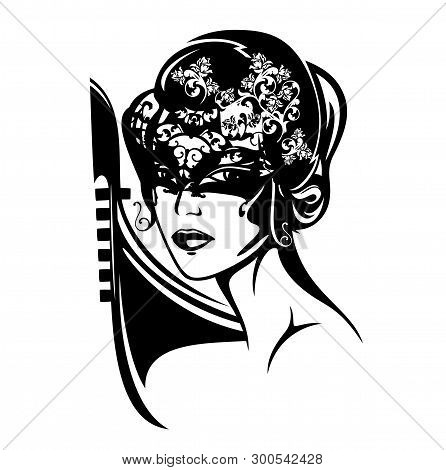 Mysterious Beautiful Woman With Face Covered Under Mask - Venetian Carnival Black Vector Portrait