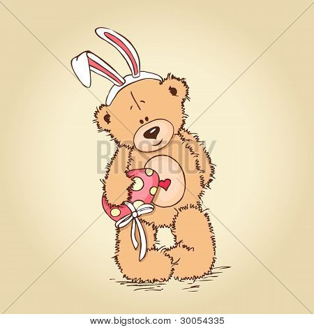 teddy with easter egg
