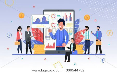 poster of Online Business Training, Coach or Forex Expo Metaphor. Coacher or Teacher on Phone Screen with Graphs and Charts Conducting Trade Course for Businesspeople Crowd. Flat Vector Illustration