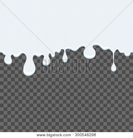 Creative Vector Illustration Of Flow And Drip Of Milk. Splash Drop Cream. Art Design Food. Dairy Pro