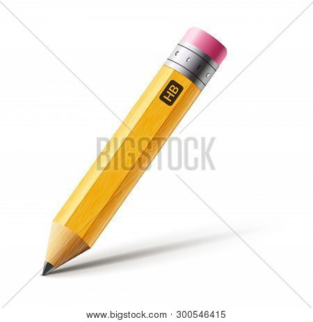 Vector Short Yellow Pencil, Realistic Pencil Isolated Cartoon With Rubber Eraser